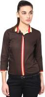 Dazzio Women's Solid Formal Brown, Red Shirt