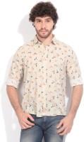 Pepe Jeans Mens Printed Casual Beige Shirt