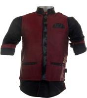 Fingerchips Boys Self Design Party Linen Red, Black Shirt(Pack of 2)