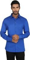 Macoro Mens Checkered Casual Blue Shirt