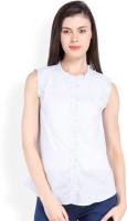 Ten on Ten Womens Striped Casual White, Grey Shirt