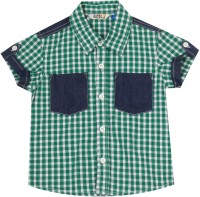 People Boys Checkered Casual White, Green Shirt