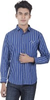 EdenElliot Mens Striped Casual Blue Shirt