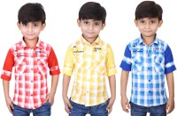 Ice Blue Boys Checkered Casual Red, Yellow, Blue Shirt(Pack of 3)