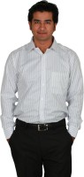 I-Voc Mens Striped Formal Blue, White Shirt