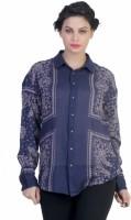 Ten on Ten Women's Printed Casual Blue Shirt