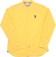 US Polo Kids Boys Solid Casual Yellow Shirt