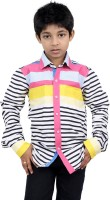 Zeal Boys Striped Casual White, Black, Pink Shirt