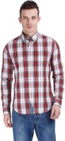 Zobello Mens Checkered Casual Red Shirt