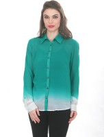 Ten on Ten Women's Solid Casual Green, White Shirt