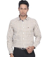 DIndian Club Mens Checkered Casual Brown Shirt