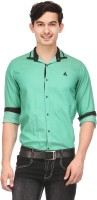 Macoro Mens Solid Casual Green Shirt