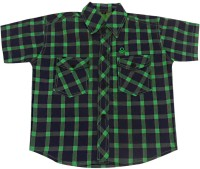 Fashionitz Boys Checkered Casual Green Shirt