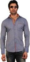 EdenElliot Mens Solid Casual Linen Blue Shirt