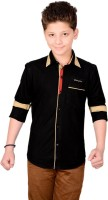 Anry Boys Solid Casual Black Shirt