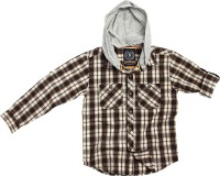 SuperYoung Boys Checkered Casual Brown Shirt