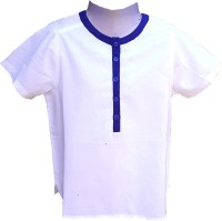 Aummade Boys Solid Casual Blue, White Shirt