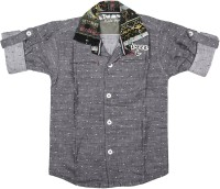 Kidzee Boys Printed Casual Black Shirt