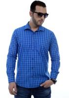 Zeal Men Checkered Formal Dark Blue, Blue Shirt