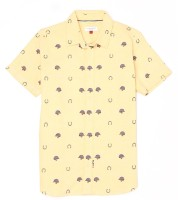US Polo Kids Boys Printed Casual Yellow Shirt