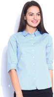 Mast & Harbour Women's Printed Casual Blue Shirt