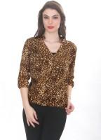 Ten on Ten Women's Animal Print Casual Brown Shirt