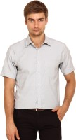 I-Voc Mens Striped Formal White, Black Shirt