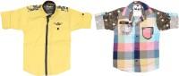 Kidzee Boys Self Design Casual Yellow, Pink Shirt(Pack of 2)
