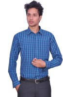 Leaf Mens Checkered Casual Blue Shirt
