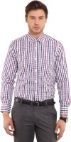 I-Voc Mens Checkered Formal Purple, Dark Blue Shirt