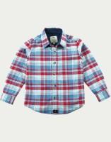 Cherry Crumble California Boys Checkered Casual Blue Shirt