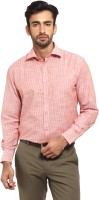 I-Voc Mens Striped Formal Orange Shirt
