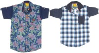 Kidzee Boys Self Design Casual Blue, Green Shirt(Pack of 2)