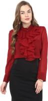 La Zoire Women Solid Formal Maroon Shirt