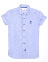 US Polo Kids Boys Printed Casual Blue Shirt