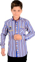 Anry Boys Striped Casual Blue Shirt