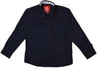 Little Man Boys Solid Casual Dark Blue Shirt
