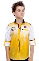 MashUp Boys Printed Casual Yellow Shirt