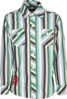 Dreamszone Boys Striped Casual Green, White Shirt