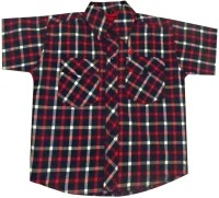 Fashionitz Boys Checkered Casual Red Shirt