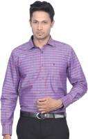 DIndian Club Mens Checkered Casual Purple Shirt