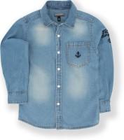 Tonyboy Boys Embroidered Casual Blue Shirt