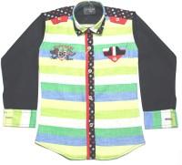 Empire Apparels Boys Striped Casual Green Shirt