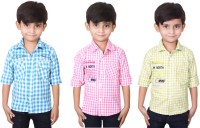 Ice Blue Boys Checkered Casual Blue, Pink, Green Shirt(Pack of 3)