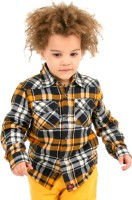 Cherry Crumble California Boys Checkered Casual Black, Orange Shirt