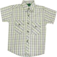 Fashionitz Girls Striped Casual White, Green Shirt
