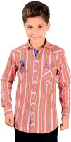 Anry Boys Striped Casual Ribbed Collar Shirt