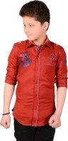 Anry Boys Solid Casual Red Shirt