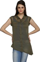 Ten on Ten Women's Solid Casual Green Shirt