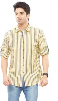 London Bridge Mens Striped Casual Yellow Shirt